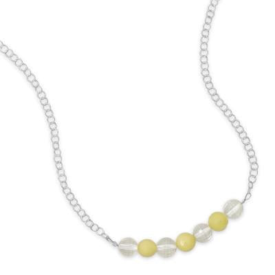 "17"" Necklace with Faceted Lemon Quartz and Jade"