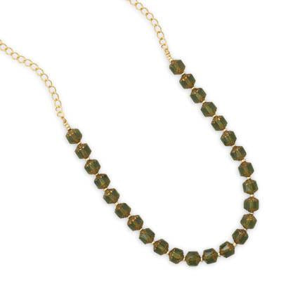 "22"" Green Glass Bead Fashion Necklace"