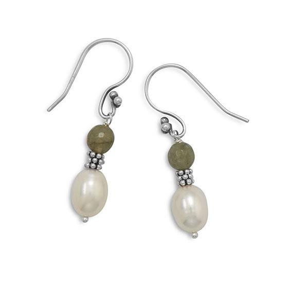 Faceted Labradorite and Cultured Freshwater Pearl Earrings