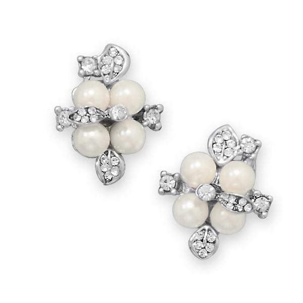 Crystal Flower Fashion Earrings with Imitation Pearl