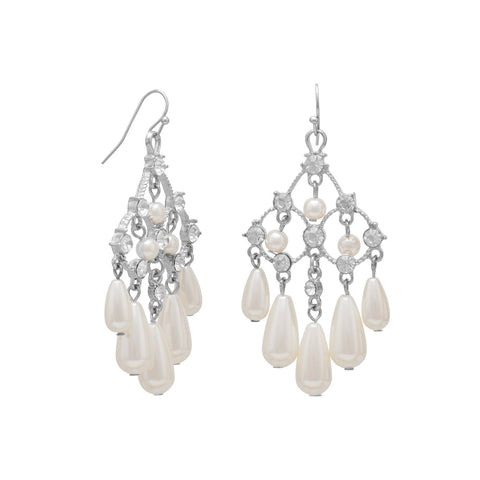 Elegant Chandelier Fashion Earrings with Crystal and Imitation Pearl