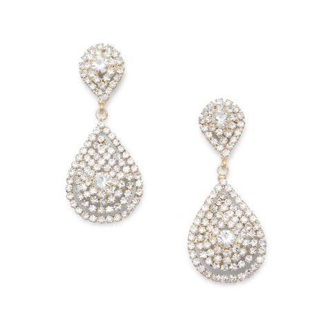Elegant Gold Tone Tear Drop Crystal Fashion Earrings