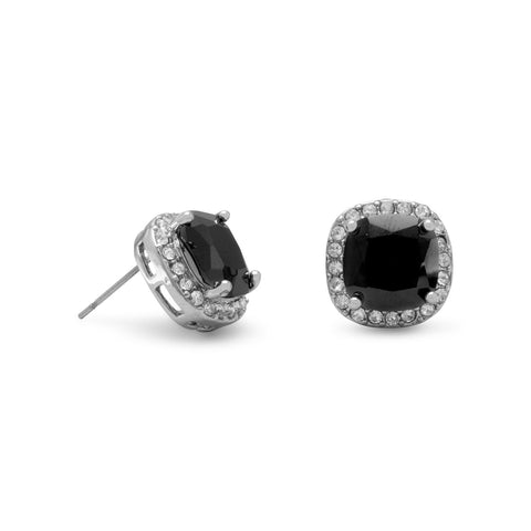 Soft Square Black CZ Fashion Post Earrings