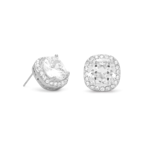 Soft Square Clear CZ Fashion Post Earrings