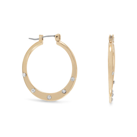 Gold Tone Fashion Hoops with Crystals