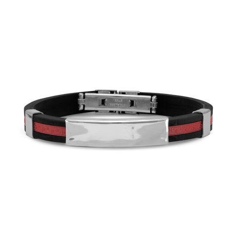 "8"" Stainless Steel and Red Rubber Men's ID Bracelet"