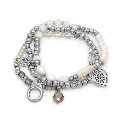 Set of 3 Silver Tone Multicharm Fashion Stretch Bracelets with White Beads