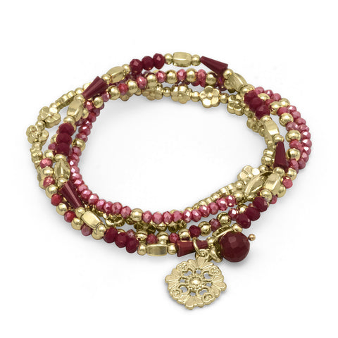 Set of 4 Gold Tone Fashion Stretch Bracelets with Red Crystal