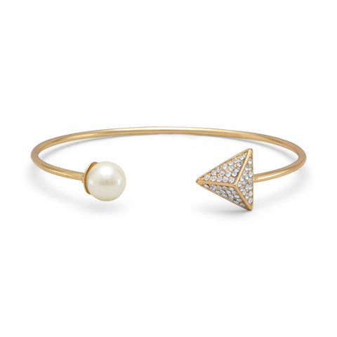 Gold Tone Fashion Cuff Bracelet with Imitation Pearl and Crystal Ends