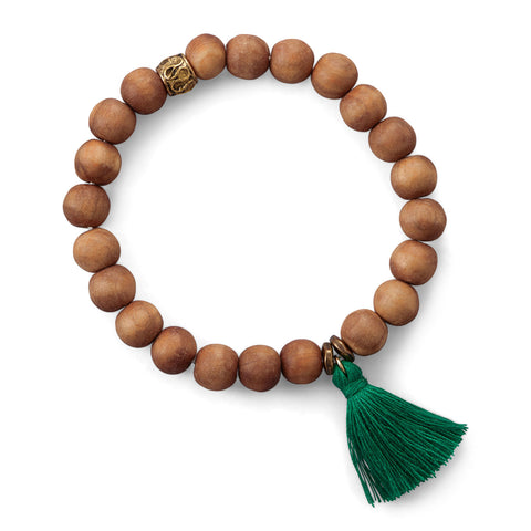 Wood Bead with Green Tassel Fashion Bracelet