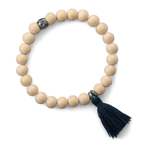 Light Wood Bead with Dark Blue Tassel Fashion Bracelet
