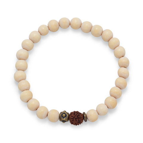 White Wood Bead Stretch Fashion Bracelet