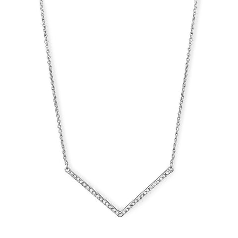"Silver Tone ""V"" Fashion Necklace with Crystals"