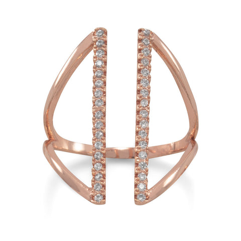 14 Karat Rose Gold Plated CZ Bar Fashion Ring