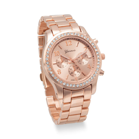 Rose Tone Fashion Watch with Clear Crystals