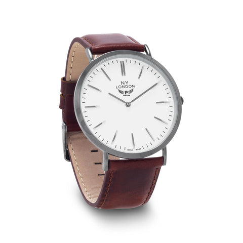 Brown Leather with White Dial Fashion Watch