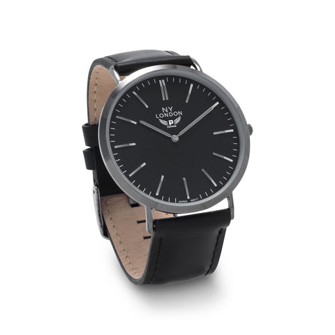 Black Leather Men's Fashion Watch
