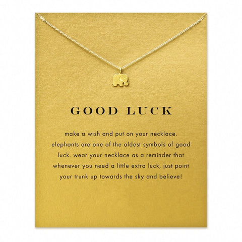 "Lucky elephant ""trunk up"" pendant necklace gold tone"
