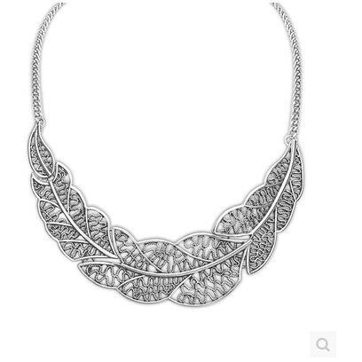 Zinc Alloy Pendant Necklace  Silver Leaves