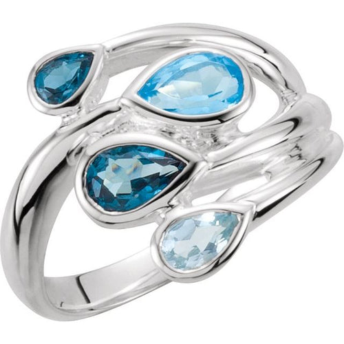 Sterling Silver Sky Blue Topaz, London Blue & Swiss Blue Bypass Ring Size 7, New item #68179