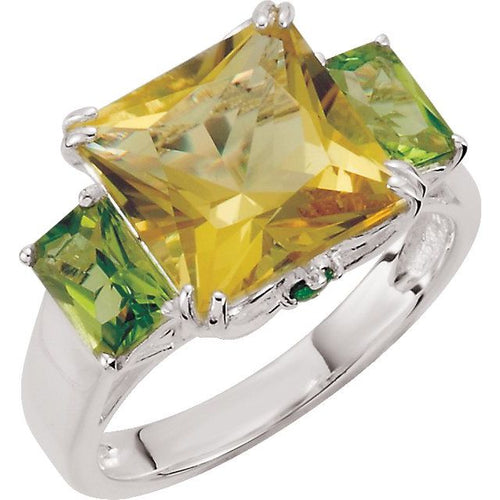 Sterling Silver Lime Quartz, Peridot & Chrome Diopside Ring Size 7, New item #68031