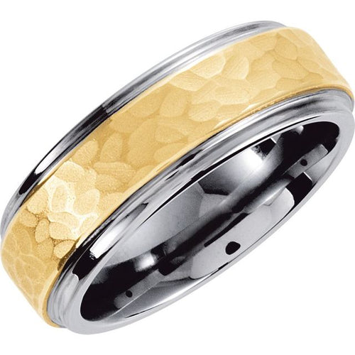 Men's Tungsten & 10K Yellow Inlay 8 mm Hammered Finish Band Size 8, 9.5,10, New item #TAR539:1010:P