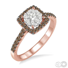 3/4 Ctw White and Champagne Brown Diamond Lovebright Ring in 14K Rose and White Gold, this is  Pre-Owned Item #13262FVPW