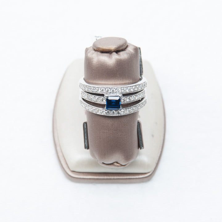 5/8 CT LADIES DIAMOND AND SAPPHIRE RING IN 14KW, this is New Item #14283