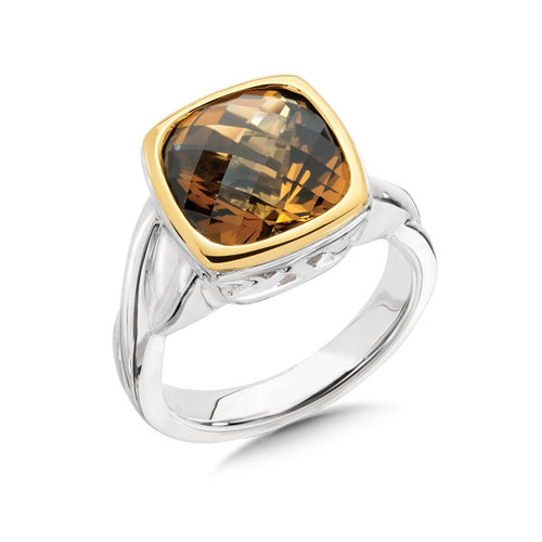 Colore SG Honey Citrine Ring in Sterling Silver and 18K Yellow Gold, New item #lzr260-HC