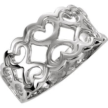 Ladies Solid 14K White Gold 10.2 mm Heart Pattern Band Ring, New item #5180