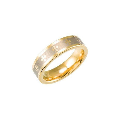 Tungsten & Gold Immersion Plated 6.3 mm Flat Band w/ Lasered Crosses Sz 6-10.5, New item #TAR366