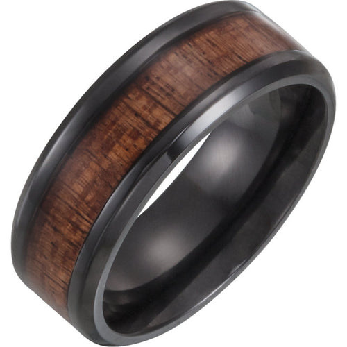 Black Titanium Beveled Edge Comfort-Fit Band with Golden Figured Aniegre Wood Inlay, New item #51958