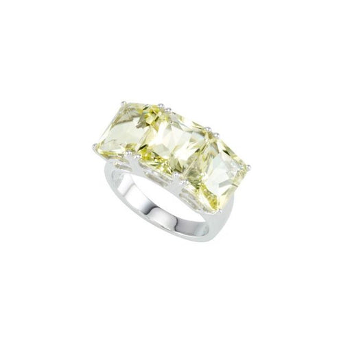 Sterling Silver Lime Quartz 3 Stone Ring Size 7, New item #68267
