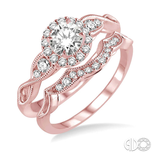 1/2 Ctw Diamond Wedding Set with 1/2 Ctw Round Cut Engagement Ring and 1/10 Ctw Wedding Band in 14K Pink Gold ASHI Style New #20993FHPG-WS