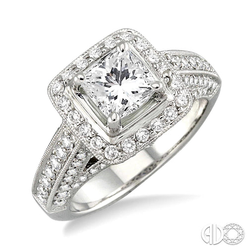 1 Ctw Diamond Semi-Mount Ring in 14K White Gold ASHI Style New #V35423