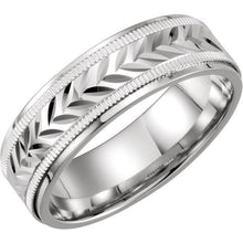 Men's Sterling Silver & 10K White 7 mm Precious Bond™ Band, Sz. 8, 9, 10, New item #51163:104:P