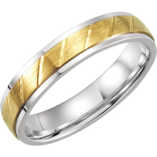 Men's Sterling Silver & 10K Yellow 5 mm Precious Bond™ Band Size 7, New item #51160