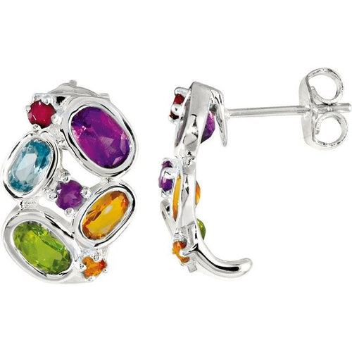 925 Sterling Silver Multi-Gemstone J-Hoop Earrings 16x11 mm, New item #68017