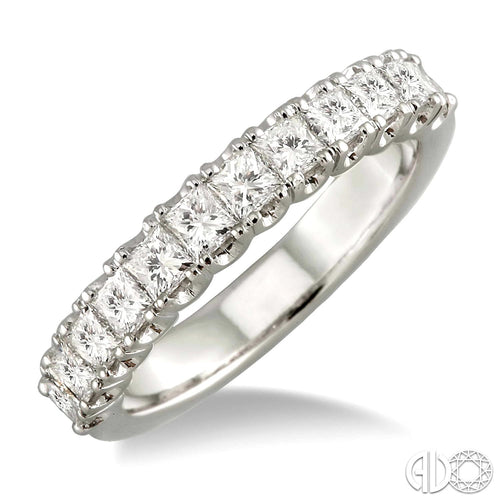 1 1/5 Ctw Princess Cut Diamond Matching Wedding Band in 14K White Gold ASHI Style New #23150FRWG-WB