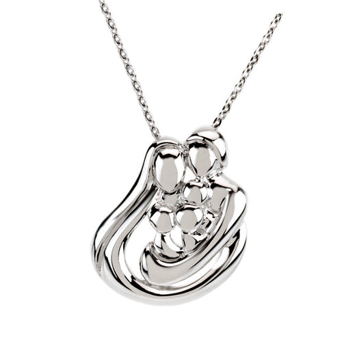Sterling Silver Embraced by the Heart™ Family Necklace, this is New Item #R45219:600030:P