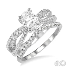 1 1/3 Ctw Diamond Wedding Set with 1 1/6 Ctw Oval Cut Engagement Ring and 1/5 Ctw Wedding Band in 14K White Gold ASHI Style New #246F0FVWG-WS