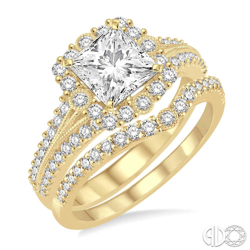 1 1/6 Ctw Diamond Wedding Set with 1 Ctw Princess Cut Engagement Ring and 1/5 Ctw Wedding Band in 14K yellow Gold ASHI Style New #259B0FVYG-WS