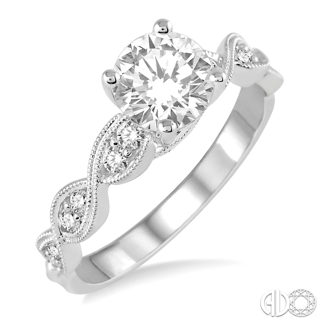 3/4 Ctw Diamond Engagement Ring with 1/2 Ct Round Cut Center Stone in 14K White Gold ASHI Style, New #28202FVWG-LE