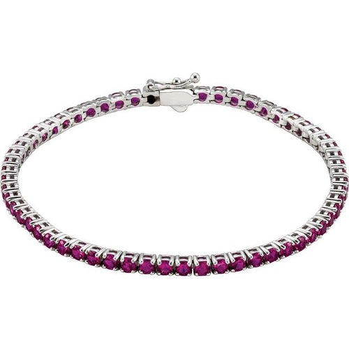 Ladies 14K White Gold Lab-Grown Ruby Line 7.25