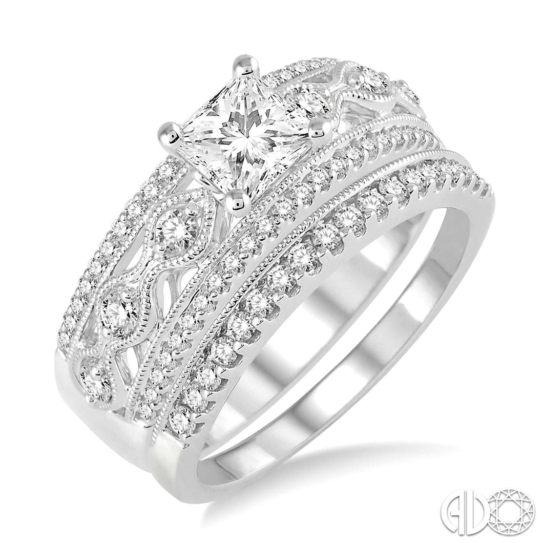1 1/6 Ctw Diamond Wedding Set with 1 Ctw Princess Cut Engagement Ring and 1/6 Ctw Wedding Band in 14K White Gold ASHI Style New #28630FVWG-WS