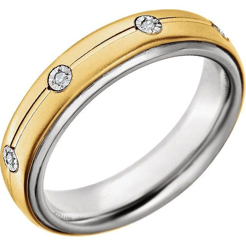 Precious Bond™ Men's Sterling Silver & 10K Yellow 5 mm .04 CTW Diamond Band, New item #651731