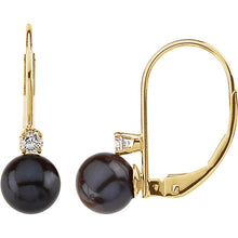Akoya Cultured Pearl & Diamond Lever Back Earring, New item #61041