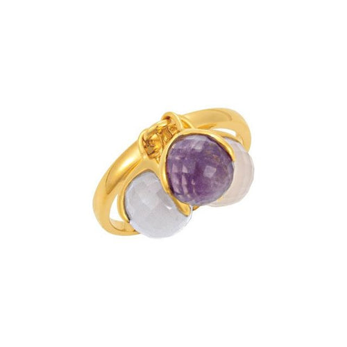 MISSOMA® 18KY Vermeil Multi-Gemstone Amethyst, Blue & Rose Chalcedony Ring Sz. 7, New item #68850