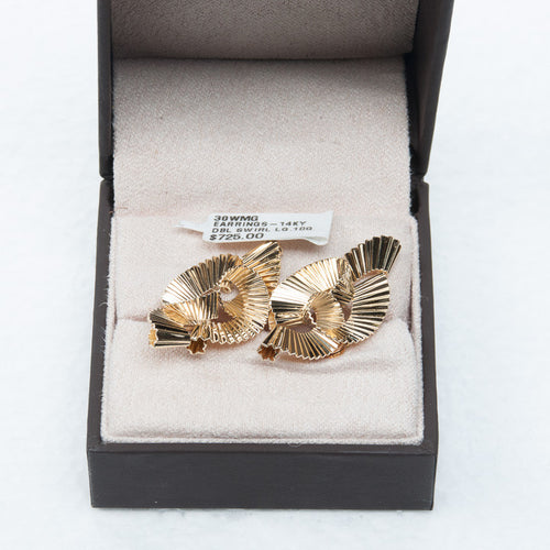 14KY Solid Gold DOUBLE SWIRL DESIGNER French Back Earrings #30WMG