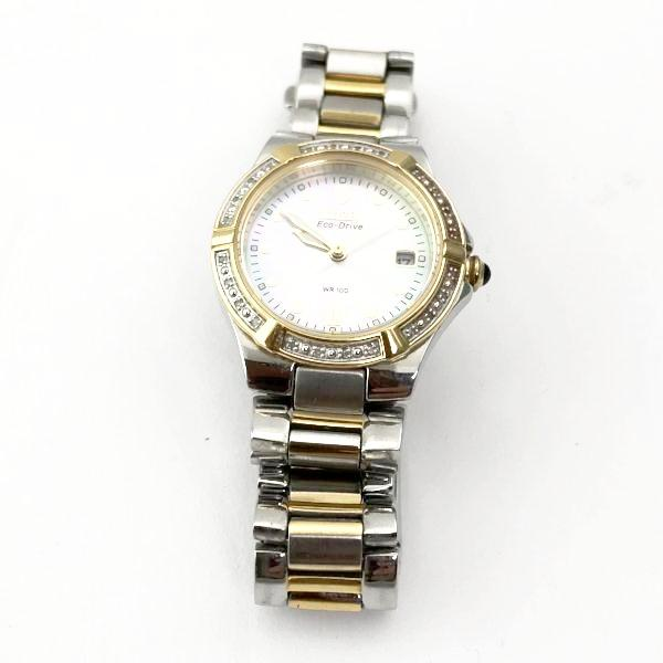 Citizen Eco Drive WR100 Diamond Stainless Steel Two Tone Watch #340594